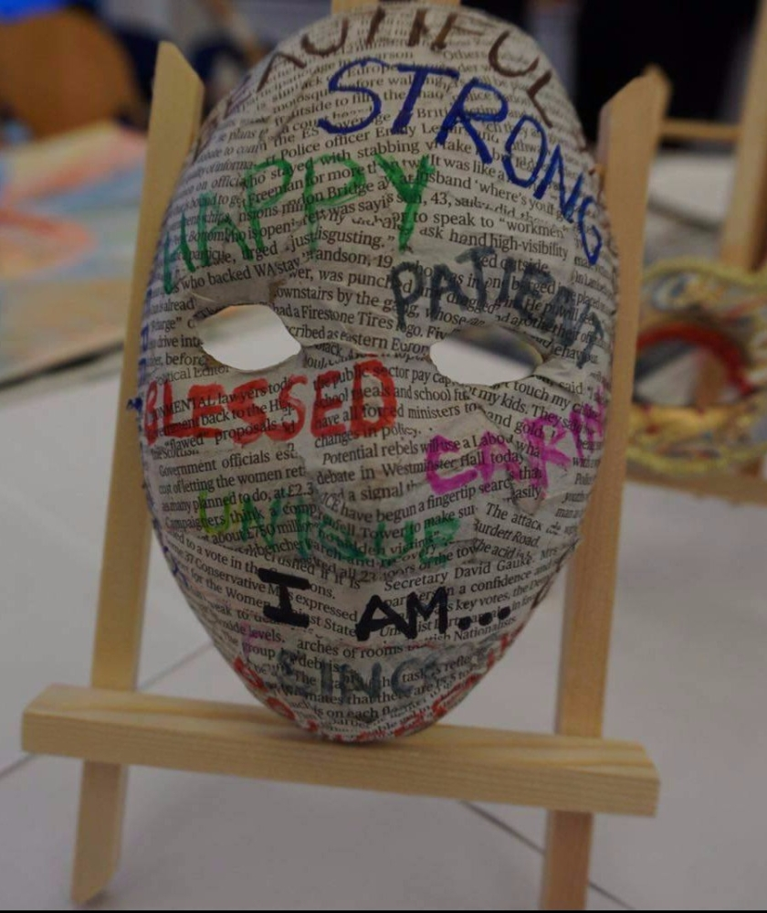 art workshop using masks and words to express emotions www.helensjourney.com