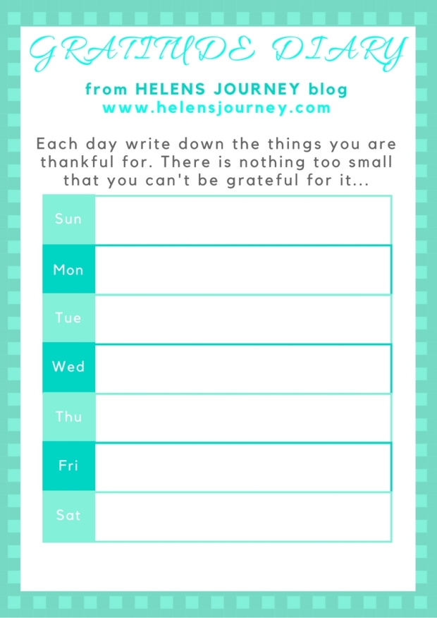 Helens Journey Weekly Gratitude Diary free printable for logging gratitude for increasing happiness and inner peace through the joy of thankfulness