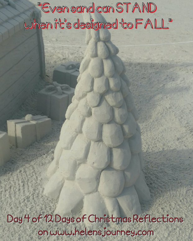 christmas picture of a sand chrostmas tree by helens journey