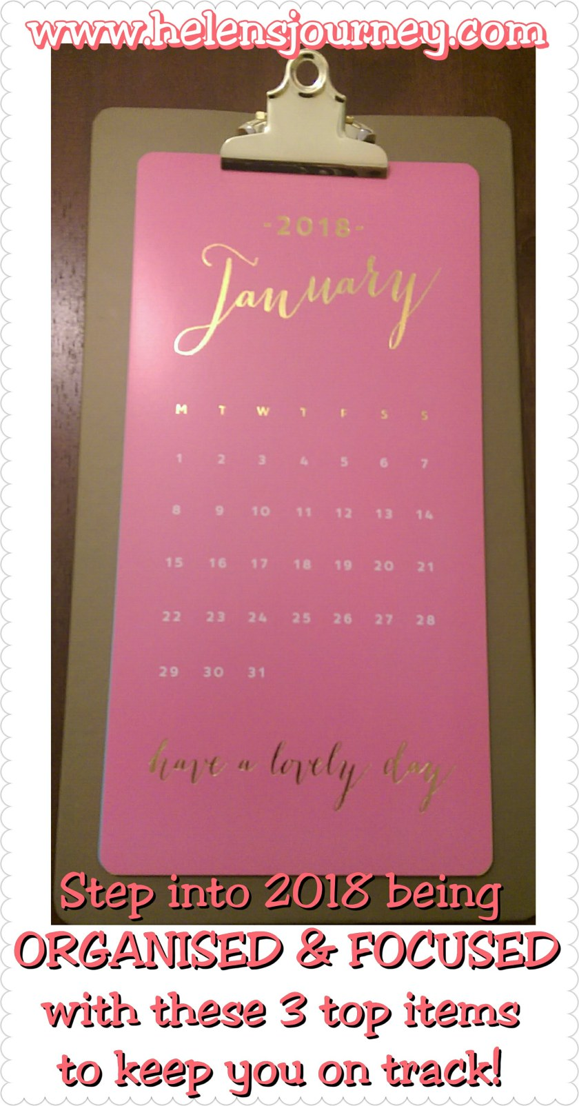 stay organised with a calendar for the new year by helens journey