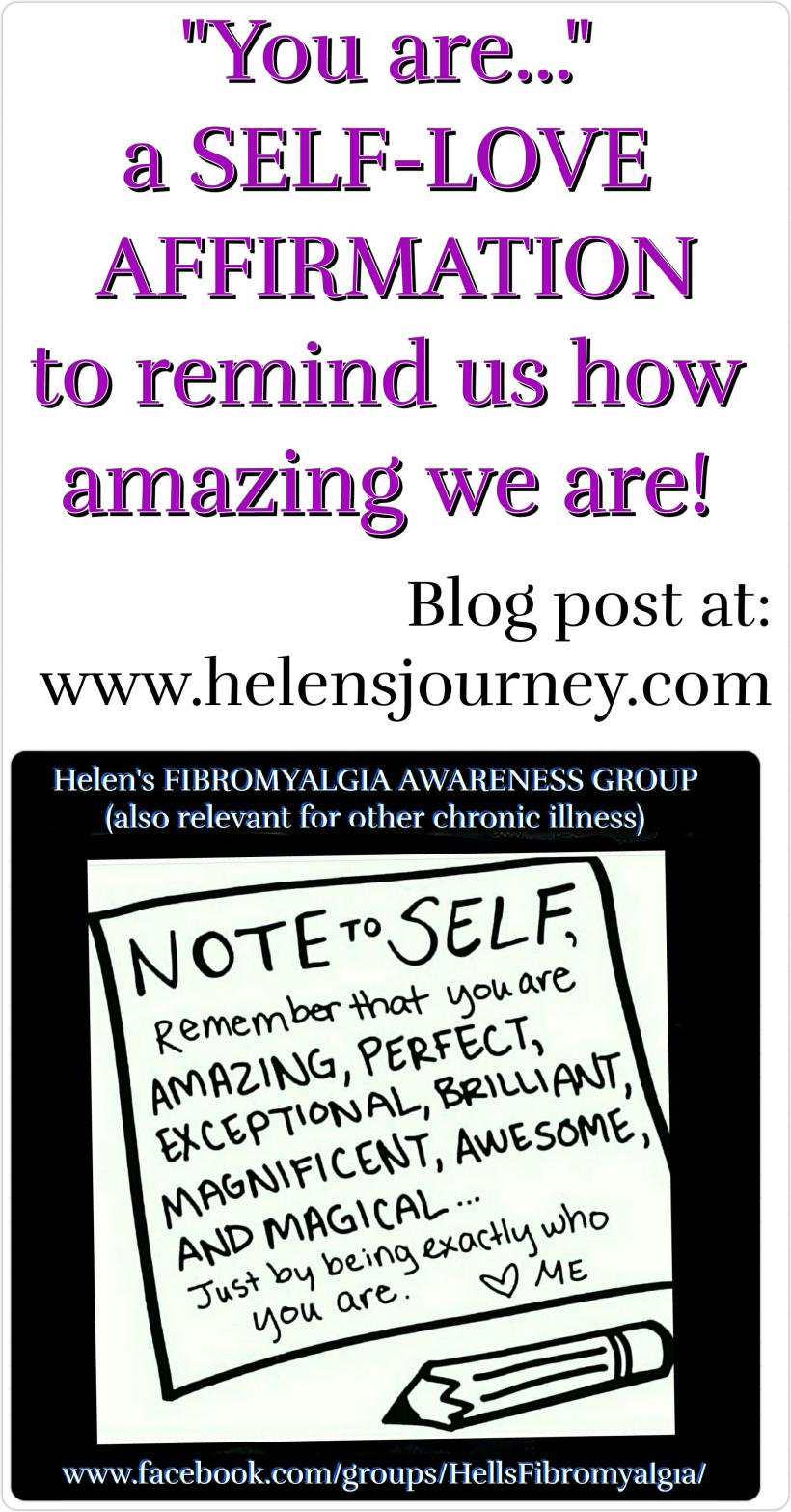 you are affirmation and blog about the importance of self love