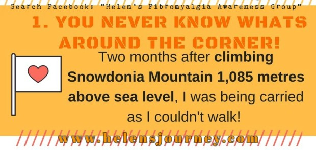 you never know whats around the corner: no1 life lessons of chronic illness infographic Helen's journey blog www.helensjourney.com with web address for Helen's Fibromyalgia Awareness Facebook Group