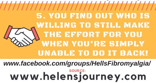 no5 life lessons of chronic illness infographic Helen's Journey blog www.helensjourney.com with web link to Helen's Fibromyalgia Awareness Group on Facebook