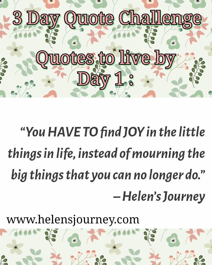 helens journey quote about appreciating the small things in life you can do, not big things you cant do. day 1 of 3 day quote challenge