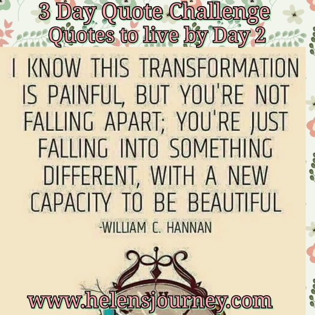 encouraging quote for day 2 of the 3 day quote challenge by helen's journey blog www/helensjourney.com
