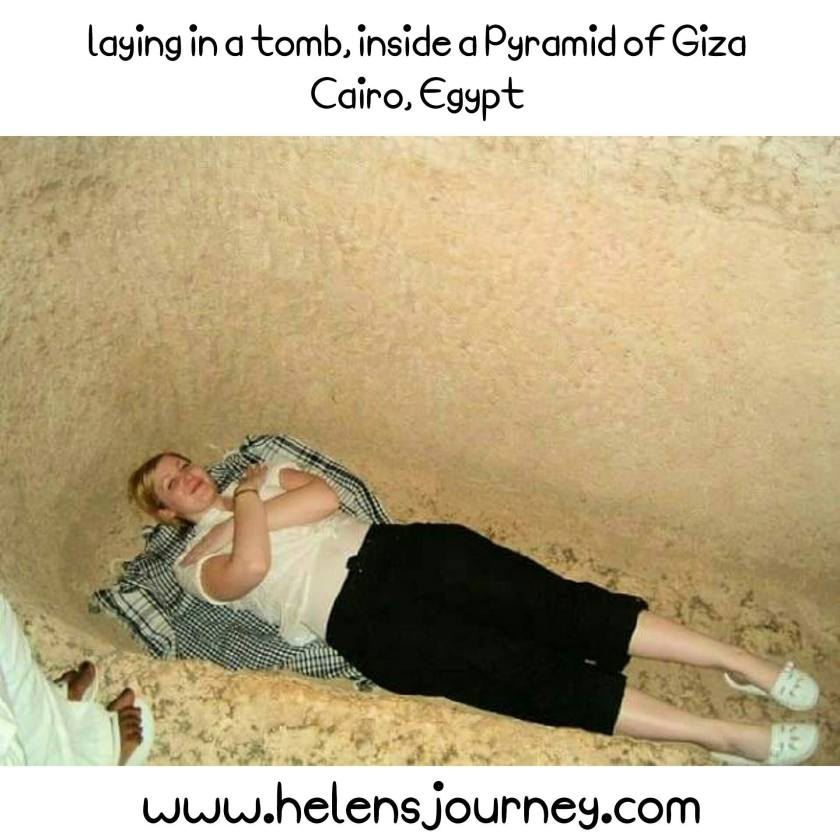 Helen's Journey Blog lying in a tomb inside pyramid of Giza Cairo Egypt