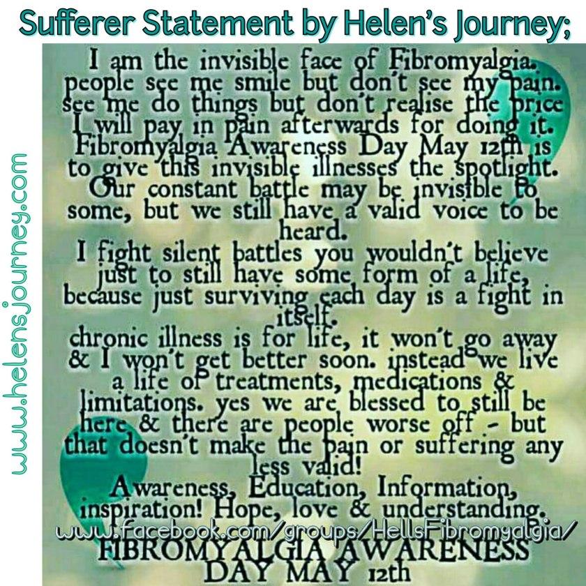 sufferer statement by Helen's journey on Fibromyalgia Awareness Day