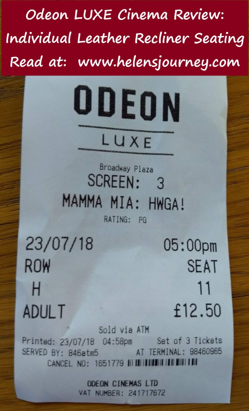 review of watching Momma Mia here we go again film in an odeon luxe cinema with leather recliner chairs, by Helen's Journey Blog www.helensjourney.com