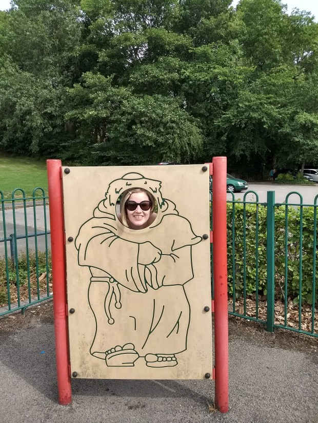 Monk Helen at Kirkstall Abbey historical site, a free day out in Leeds. Read the review by Helen's Journey Blog