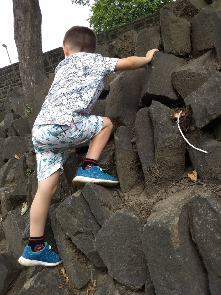 Rock climbing at Kirkstall Abbey historical site, a free day out in Leeds. Read the review by Helen's Journey Blog