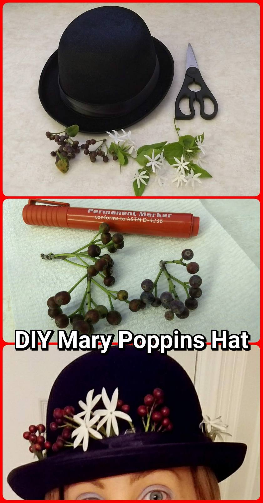 DIY Mary Poppins Hat for fancy dress costume tutorial by Helen's Journey Blog www.helensjourney.com