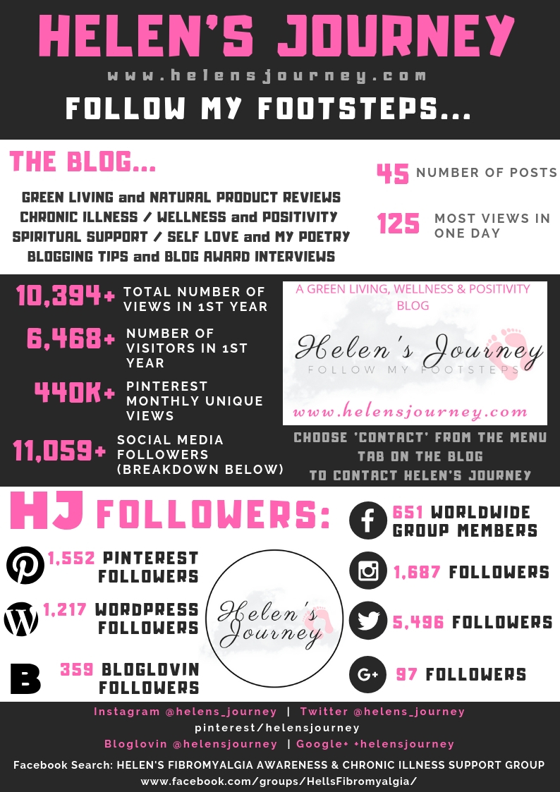 Helen's Journey Media Kit 1 year anniversary blog statistics