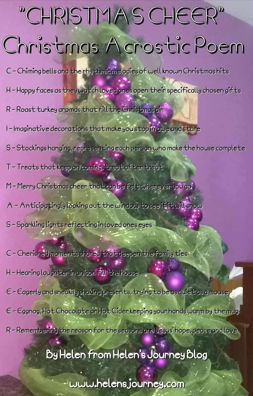 'Christmas Cheer' acrostic poem by Helen at Helen's journey Blog www.helensjourney.com a poem all about what makes christmas so special