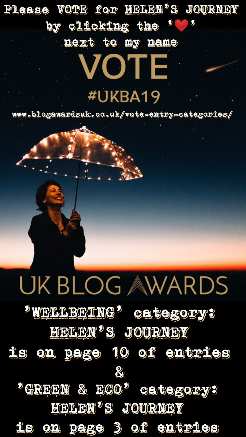 vote for helen's journey blog in the uk blog awards 2019 in category of wellbeing and also in the category of Green and Eco. voting instructions