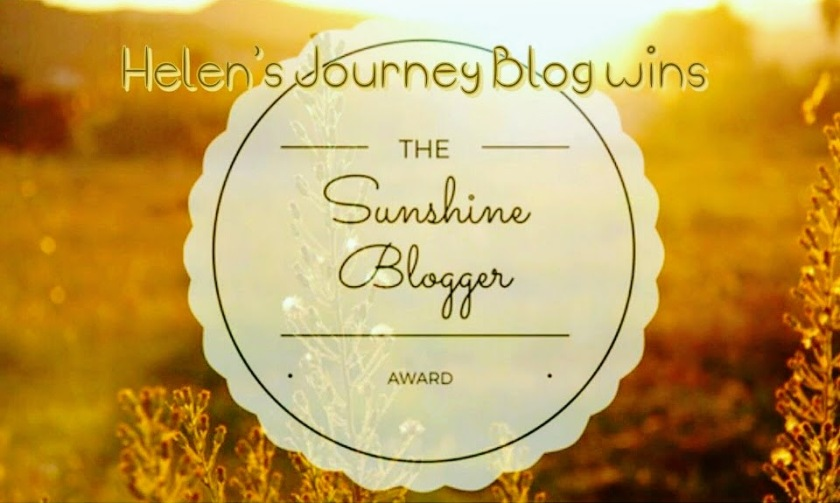helens journey blog wins her second sunshine blogger award - read interview answers