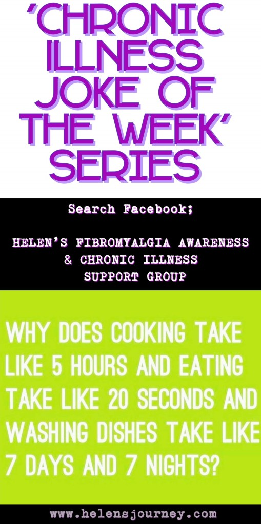 chronic illness joke of the week about accumulating washing up! by www.helensjourney.com living with chronic pain