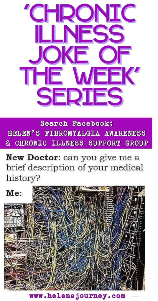 chronic illness joke of the week series joke about being asked your medical history when you have a list of chronic conditions