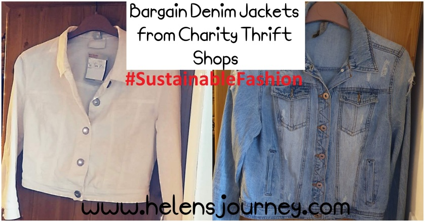 bargain denim jackets from charity thrift shops to support sustainable fashion by www.helensjourney.com