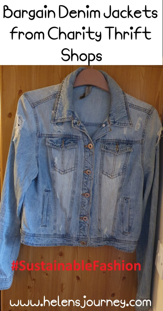 bargain ripped stone-wash denim jacket from charity thrift shops to support sustainable fashion by www.helensjourney.com