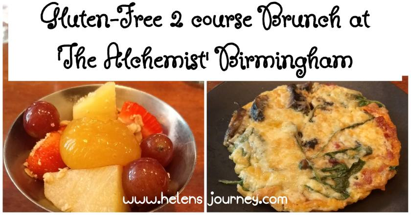 gluten-free 2 course brunch at the alchemist bar and restaurant Birmingham. Food review by www.helensjourney.com