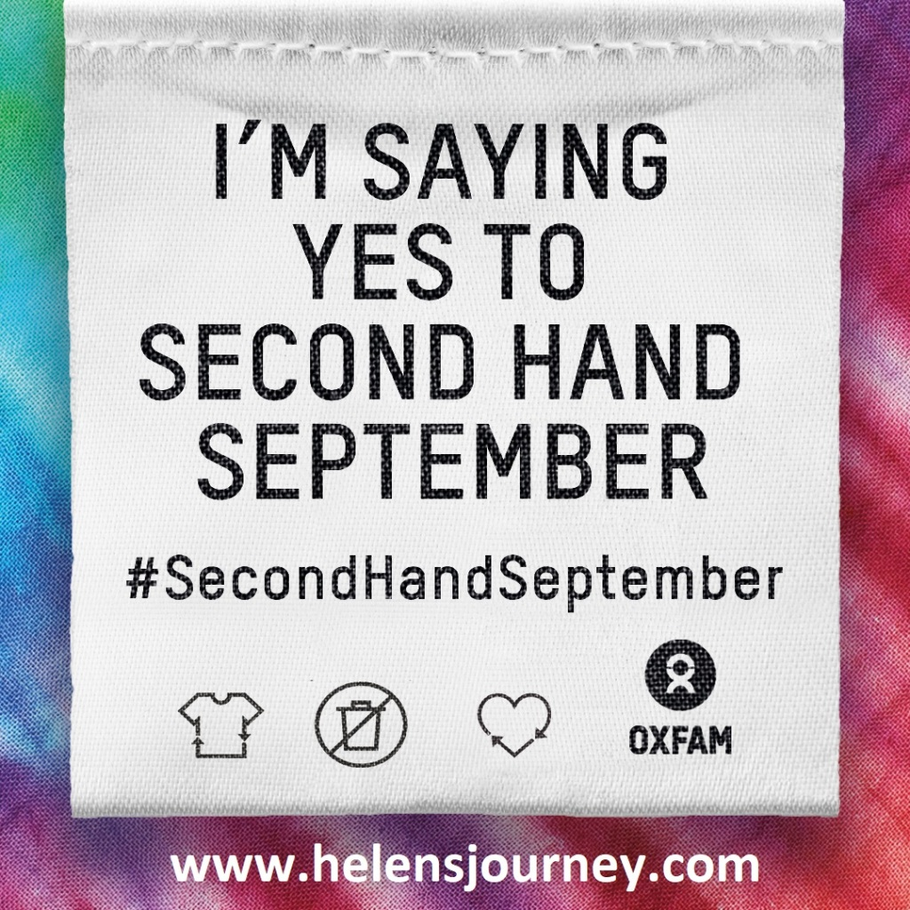 I am taking part in 'second hand September' saying no to new clothes for 30 days to encourage sustainable fashion choices by Helen's Journey Blog www.helensjourney.com
