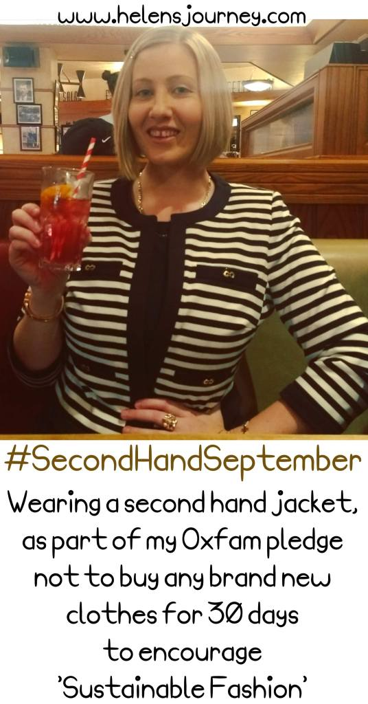 second-hand jacket I wore for Oxfam's #secondhandseptember pledge not to buy any brand new clothes for 30 days to raise awareness for sustainable fashion in a fast-fashion world