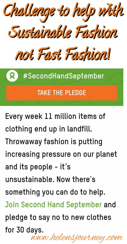Take the 'Second Hand September' pledge to only buy second-hand clothes in September, to help with sustainable fashion, not fast fashion! by www.helensjourney.com