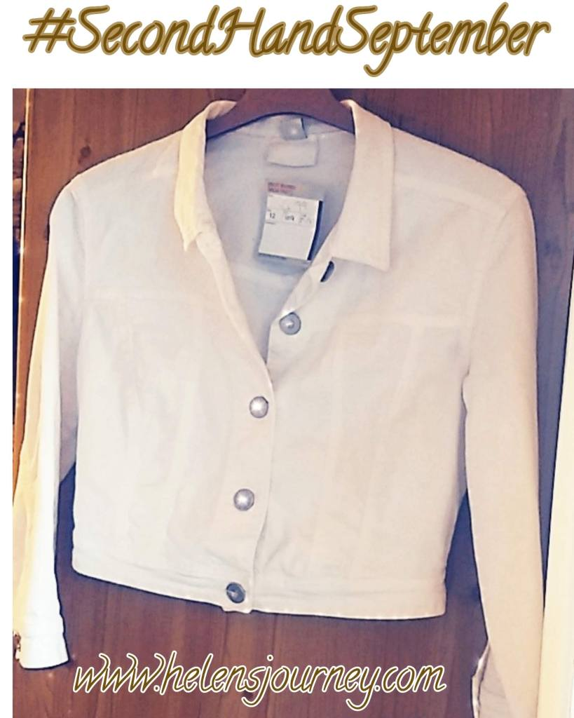 white denim jacket - second hard shopping find to support sustainable fashion