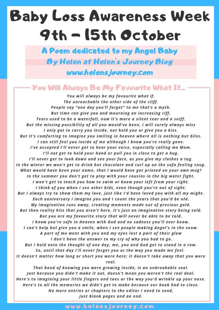 Baby Loss Awareness Week. A Poem dedicated to my angel baby by Helen from Helen's Journey Blog www.helensjourney.com JPEG