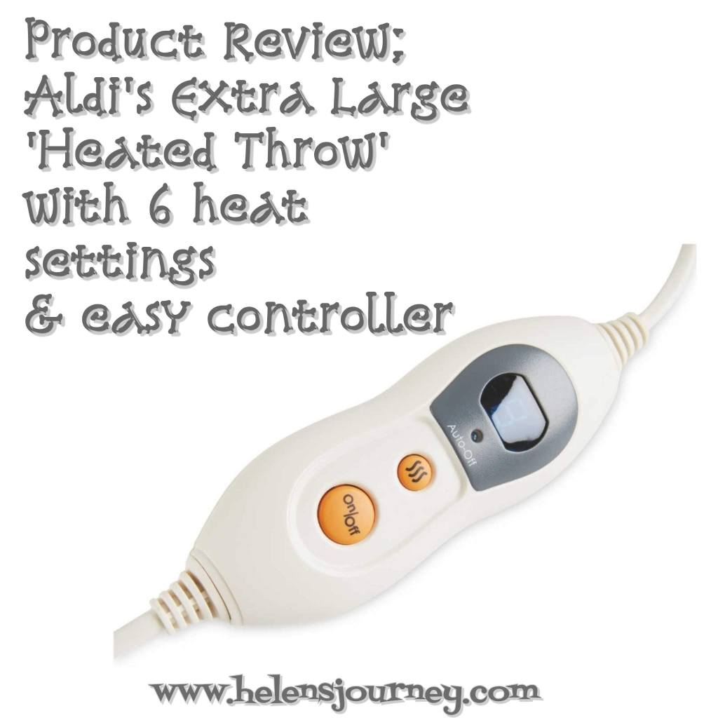 Product review of Aldi's XL heated throw with 6 heat settings and an easy controller