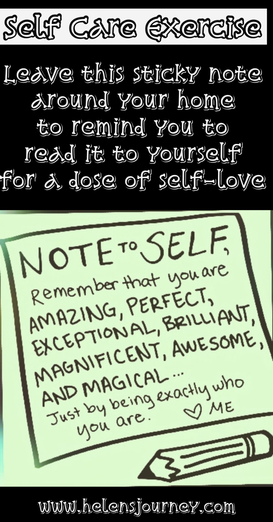 self care exercise to give yourself a dose of self love by Helen's Journey Blog
