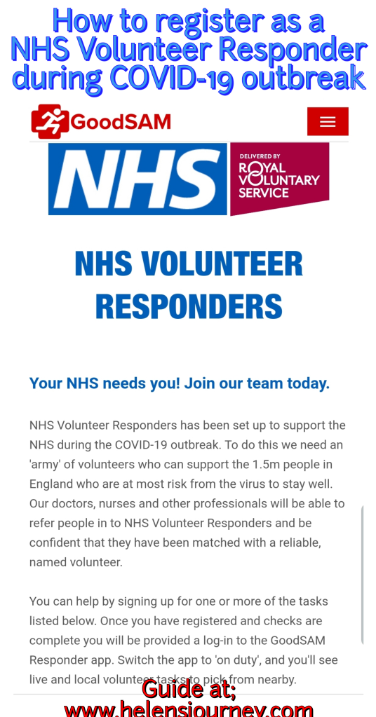 Guide to registering to be a NHS Volunteer Responder during the Covid-19 outbreak in England by Helen's Journey Blog who has volunteered as a 'check-in and chat' volunteer.