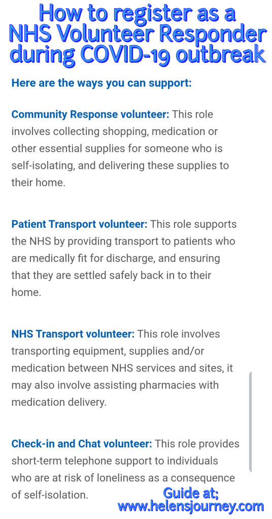 A guide to registering to be an NHS Volunteer Responder during the Covid-19 outbreak in England by Helen's Journey Blog who has volunteered as a 'check-in and chat' volunteer
