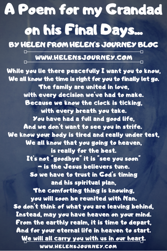An 'End of Life Poem' to express your blessing to a loved one that it's okay to let go. Navigating through the emotions of a loved one dying. dealing with death. a poem to say goodbye to a loved one. working through grief and loss.