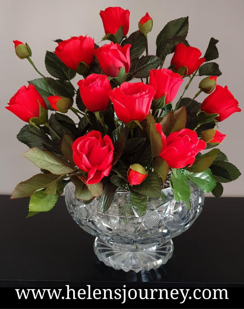 Artificial Flower Arrangement tutorial for red roses. DIY faux flower guide