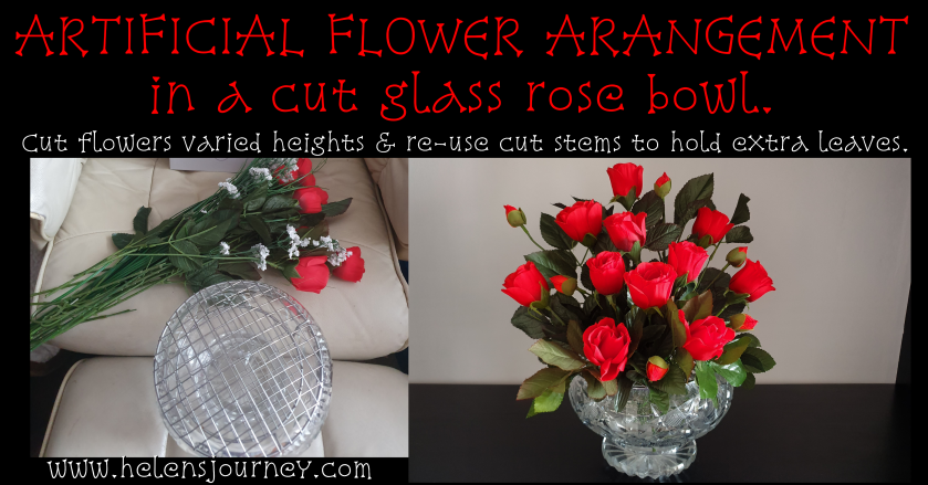 Artificial Flower Arranging Guide. DIY bouquet of red roses in a cut glass rose bow